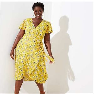 Ann Taylor Loft Yellow Floral Wrap Dress